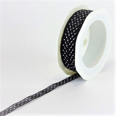Ruban Noir à pois Blanc 10 m/m x 20 m